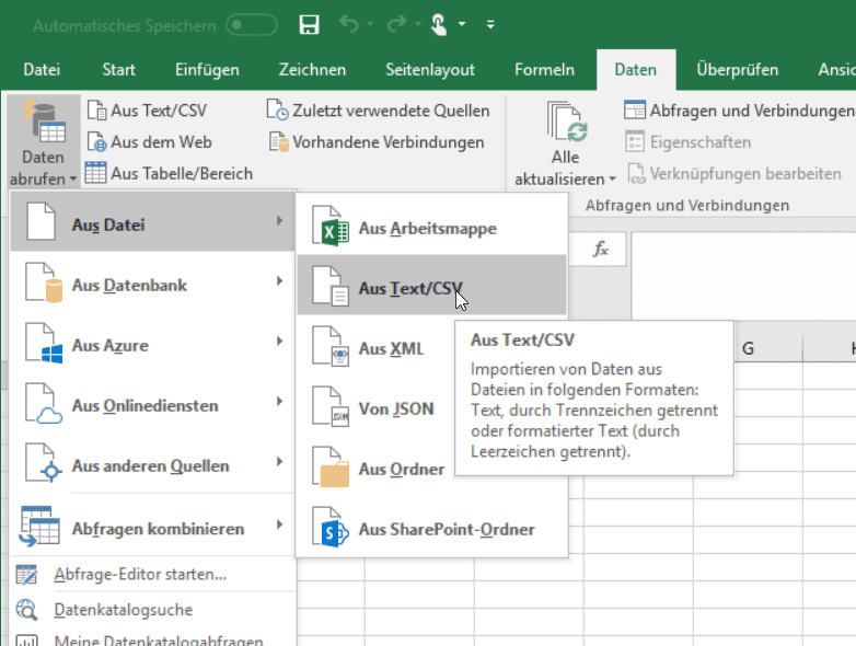 Power Query in Excel 2016: Text/CSV laden
