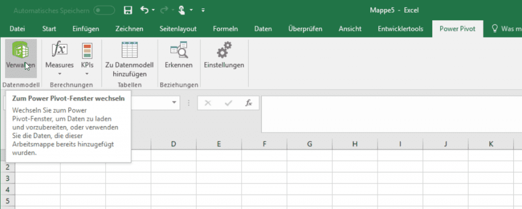 Power Pivot Ribbon in Excel 2016