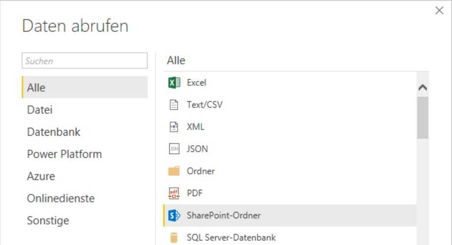 Abfragetyp SharePoint-Ordner in Power Query