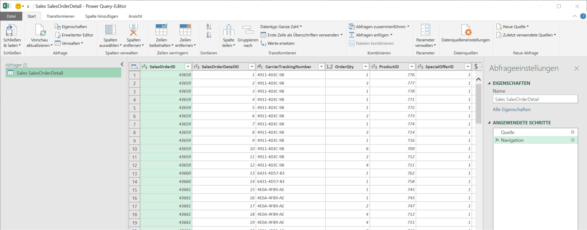 SalesOrderDetail Tabelle in Power Query