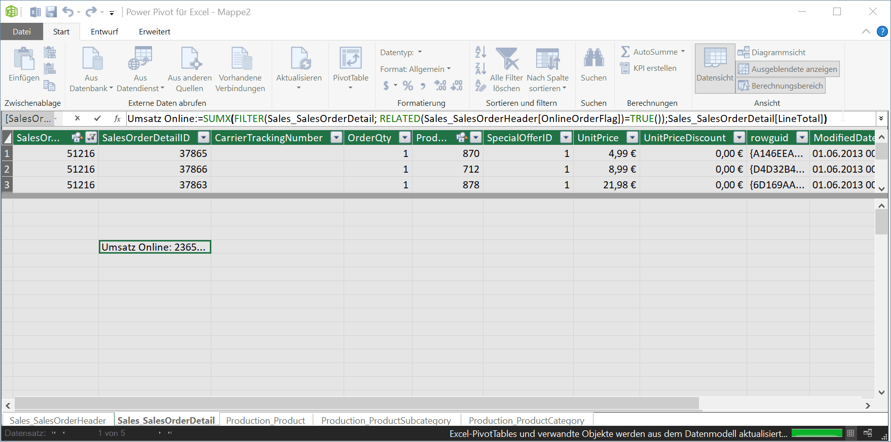 Measures in Excel Power Pivot
