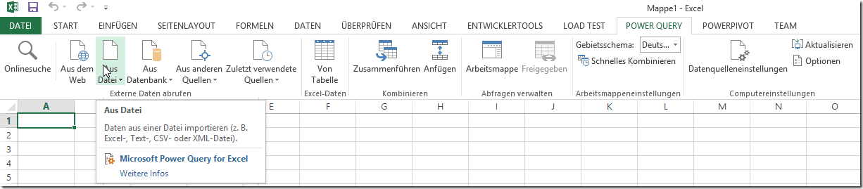 Power Query im Menü
