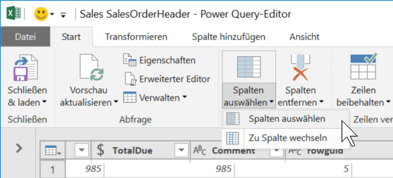 Funktion Spalten wählen in Power Query