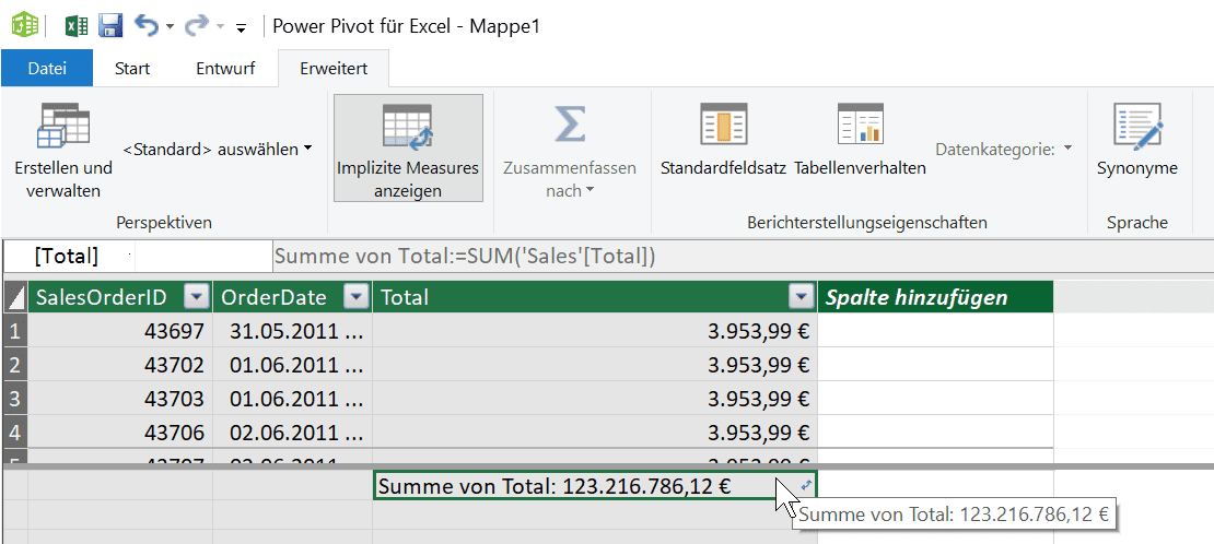 Implizites Measure in Excel Power Pivot