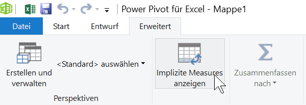 Implizites Measure anzeigen in Excel Power Pivot